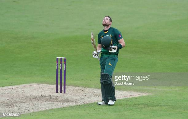 Riki Wessels of Nottinghamshire celebrates after scoring a century during the NatWest T20 Blast match between Nottinghamshire Outlaws and Derbyshire...