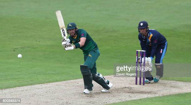 Riki Wessels of Nottinghamshire drives the ball for four runs during the NatWest T20 Blast match between Nottinghamshire Outlaws and Derbyshire...