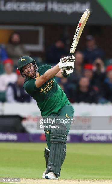 Riki Wessels of Nottinghamshire hits a six during the NatWest T20 Blast match between Leicestershire Foxes and Nottinghamshire Outlaws at Grace Road...