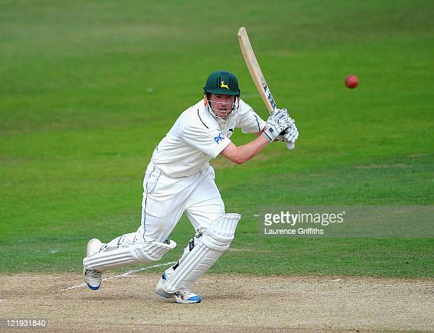 Riki Wessels of Nottinghamshire hits out to the boundary during the LV County Championship match between Nottinghamshire and Durham at Trent Bridge...