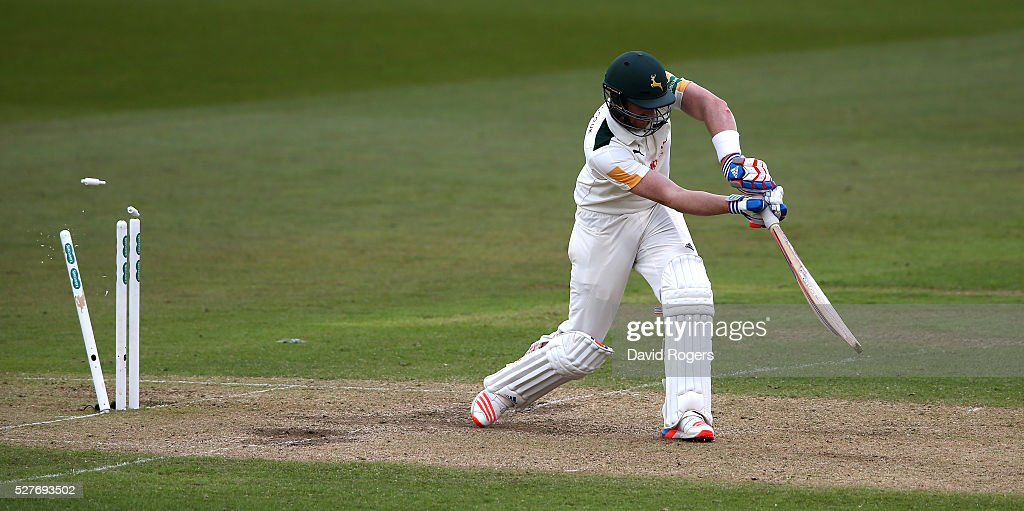 Riki Wessels of Nottinghamshire is bowled by Liam Plunkett during the Specsavers County Championship division one match between Nottinghamshire and Yorkshire at the Trent Bridge on May 3, 2016 in Nottingham, England.