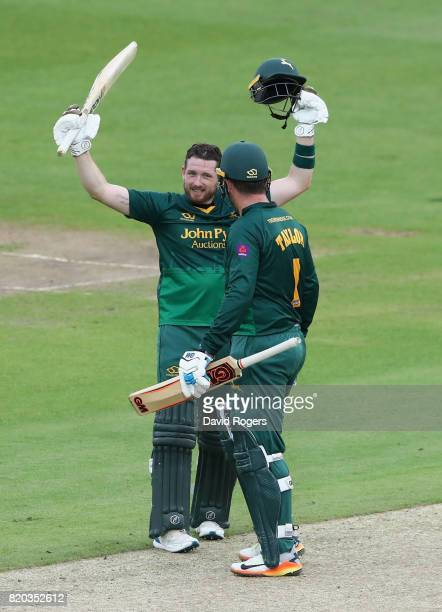 Riki Wessels of Nottinghamshire is congratulated by team mate Brendan Taylor after scoring a century during the NatWest T20 Blast match between...