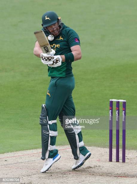 Riki Wessels of Nottinghamshire is struck by the ball during the NatWest T20 Blast match between Nottinghamshire Outlaws and Derbyshire Falcons at...