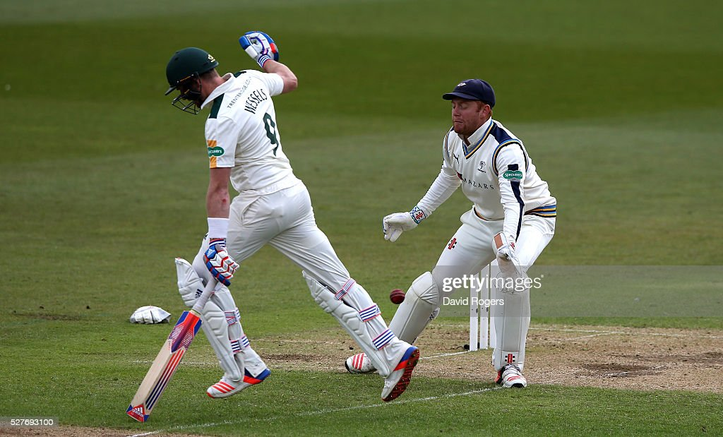 Riki Wessels of Nottinghamshire makes his ground as Jonny Bairstow attempts a stumping during the Specsavers County Championship division one match between Nottinghamshire and Yorkshire at the Trent Bridge on May 3, 2016 in Nottingham, England.