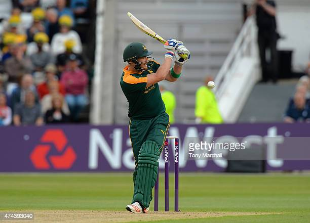 Riki Wessels of Nottinghamshire Outlaws bats during the NatWest T20 Blast between Nottingham Outlaws and Yorkshire Vikings at Trent Bridge on May 22...