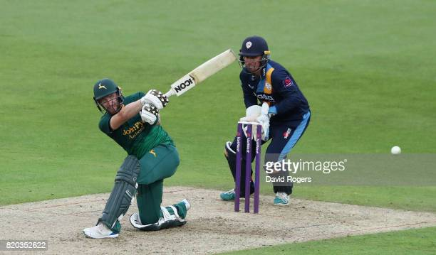 Riki Wessels of Nottinghamshire pulls the ball for four runs during the NatWest T20 Blast match between Nottinghamshire Outlaws and Derbyshire...