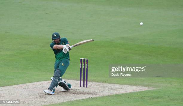 Riki Wessels of Nottinghamshire pulls the ball for six runs during the NatWest T20 Blast match between Nottinghamshire Outlaws and Derbyshire Falcons...