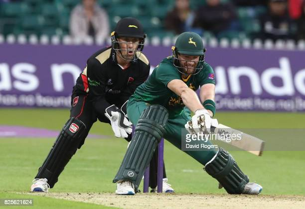 Riki Wessels of Nottinghamshire reverse sweeps the ball but is caught out on the boundary during the NatWest T20 Blast match between Leicestershire...