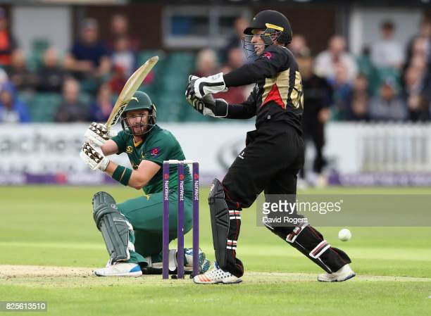 Riki Wessels of Nottinghamshire sweeps the ball past wicket keeper Luke Ronchi during the NatWest T20 Blast match between Leicestershire Foxes and...