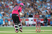Riki Wessels of the Sydney Sixers looks at his wickets after he was bowled out during the Big Bash League Semi Final match between the Adelaide...