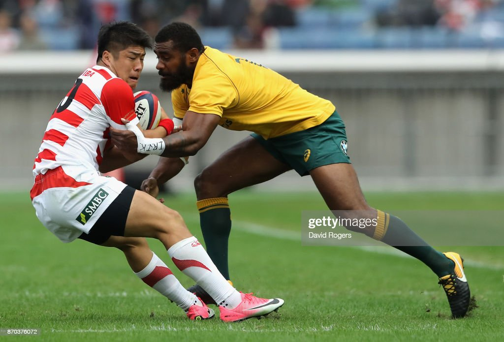 Rikiya Matsuda of Japan is tackled by Marika Koroibete during the rugby union international match between Japan and Australia Wallabies at Nissan Stadium on November 4, 2017 in Yokohama, Kanagawa, Japan.