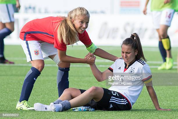 Rikke Bogetveit Nygard of Norway and Noemi Gentile of Germany shake hands after the Nordic Cup game between U16 Girl's Germany and U16 Girl's Norway...