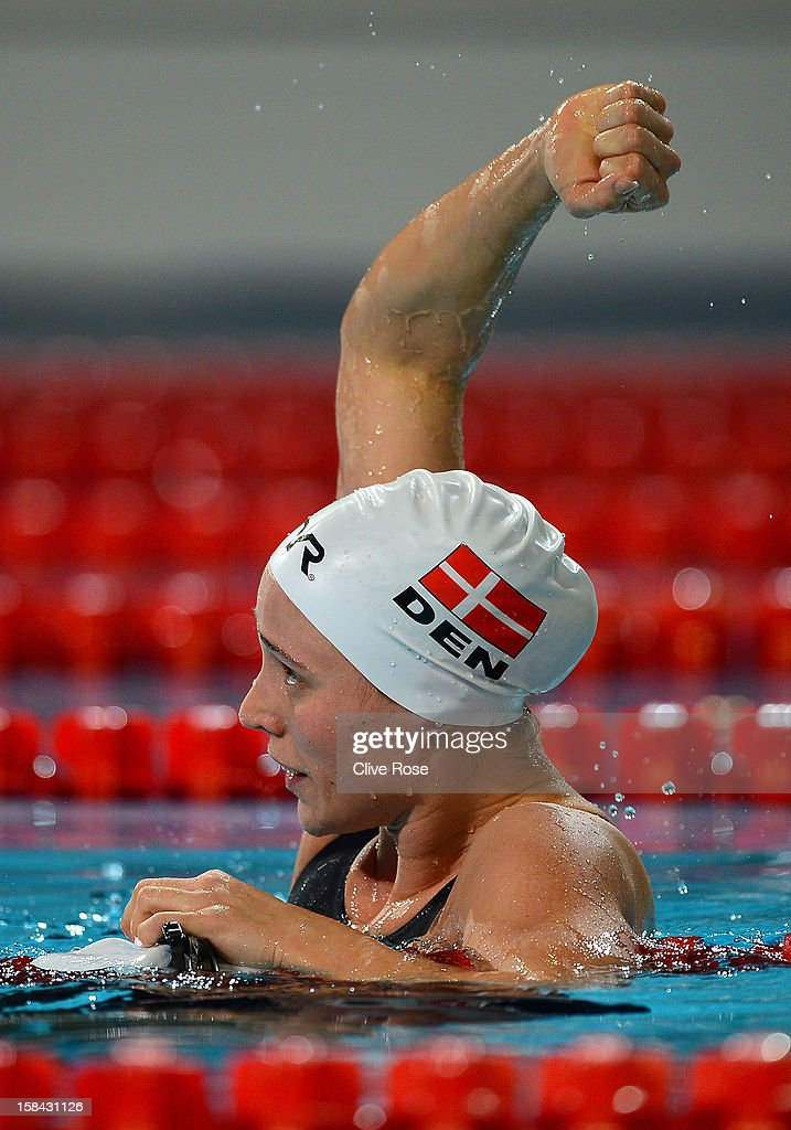 Rikke Moeller Pedersen of Denmark celebrates winning the Women's 200m Breaststroke Final during day five of the 11th FINA Short Course World Championships at the Sinan Erdem Dome on December 16, 2012 in Istanbul, Turkey.