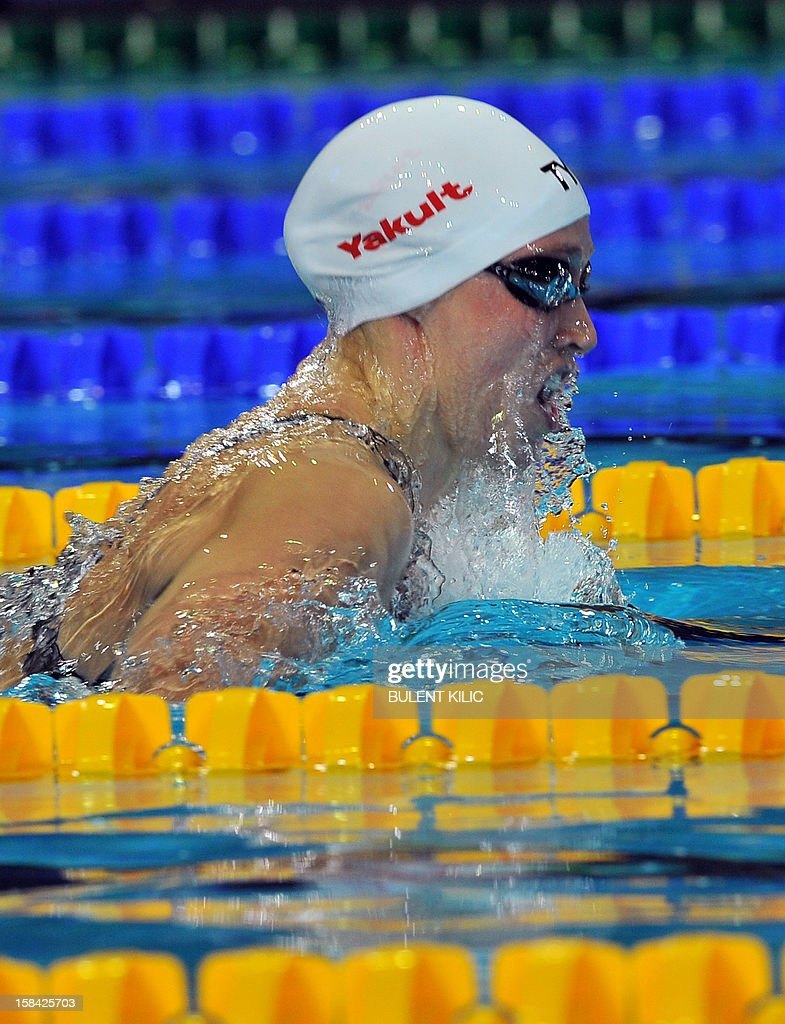 Rikke Moeller Pedersen of Denmark competes to win the women's 200m breaststroke final during the Short Course Swimming World Championships in Istanbul on December 16, 2012.