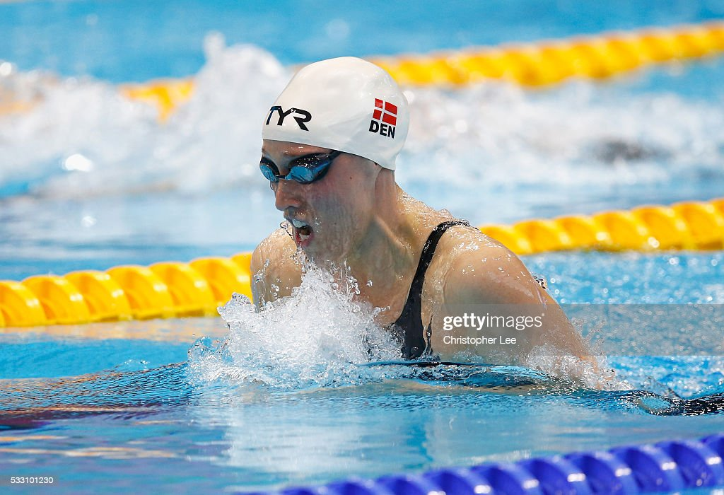 Rikke Moeller Pedersen of Denmark in action in the Women's 200m Breastroke Final during Day 12 of the 33rd LEN European Swimming Championships 2016 at Aquatics Centre on May 20, 2016 in London, England.