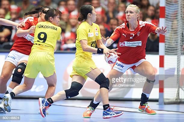 Rikke Skov of Denmark defending during the 22nd IHF Women's Handball World Championship match between Denmark and Japan in Jyske Bank Boxen on...