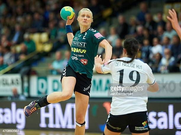 Rikke Skov of Viborg HK throws the ball during the Danish Boxer Dameligaen 1 semifinal match between Viborg HK and Team Esbjerg in Viborg Stadionhal...