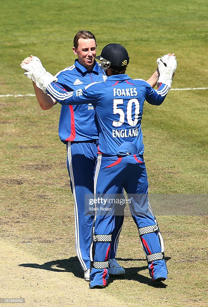 Rikki Clarke and Ben Foakes of the LIons celebrate a wicket during the international tour match between Australia 'A' and England at Blundstone Arena on February 18, 2013 in Hobart, Australia.