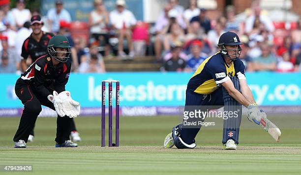Rikki Clarke of Birmingham Bears reverse sweeps the ball for four runs during the Natwest T20 Blast match between Leicestershire Foxes and Birmingham...