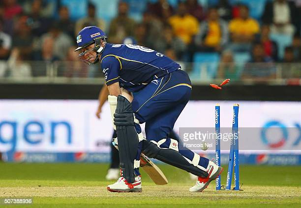 Rikki Clarke of Capricorn Commanders is bowled by Fidel Edwards of Leo Lions during the Oxigen Masters Champions League 2016 match between Capricorn...