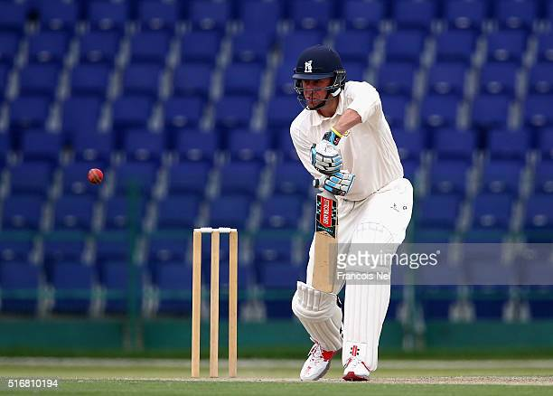 Rikki Clarke of MCC bats during day two of the Champion County match between Marylebone Cricket Club and Yorkshire at Sheikh Zayed stadium on March...