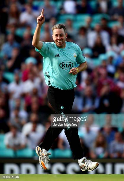 Rikki Clarke of Surrey celebrates dismissing Jacques Rudolph of Glamorgan during the NatWest T20 Blast match between Surrey and Glamorgan at The Kia...