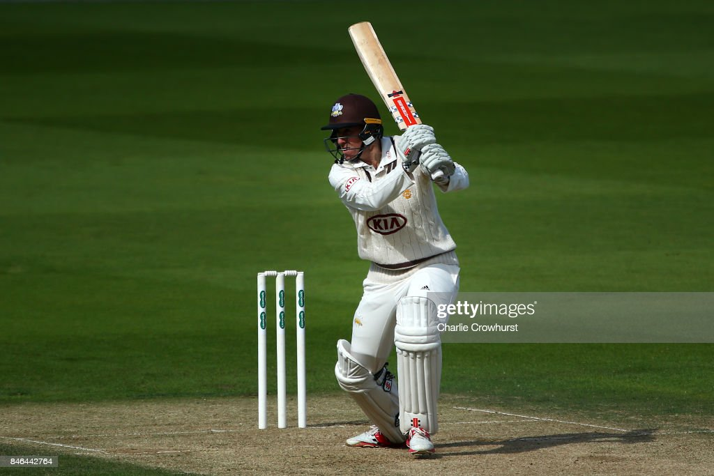 Rikki Clarke of Surrey hits out during day two of the Specsavers County Championship Division One match between Surrey and Yorkshire at The Kia Oval on September 13, 2017 in London, England.