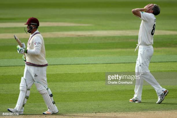 Rikki Clarke of Surrey reacts after going close to bowling out Somerset's Steve Davies during day one of the Specsavers County Championship Division...