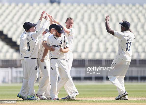 Rikki Clarke of Warwcikshire celebrates taking the wicket of James Vince of Hampshire during day 3 of the LV County Championship match between...
