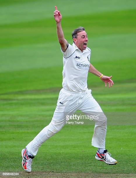 Rikki Clarke of Warwickshire appeals during Day Two of the Specsavers County Championship Division One match betwen Somerset and Warwickshire at The...