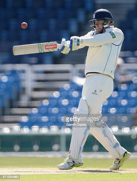 Rikki Clarke of Warwickshire bats during day two of the LV County Championship Division One match between Yorkshire and Warwickshire at Headingley on...
