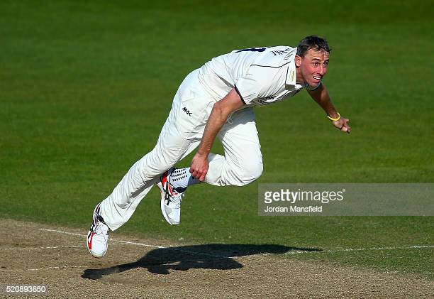 Rikki Clarke of Warwickshire bowls during day four of the Specsavers County Championship Division One match between Hampshire and Warwickshire at the...