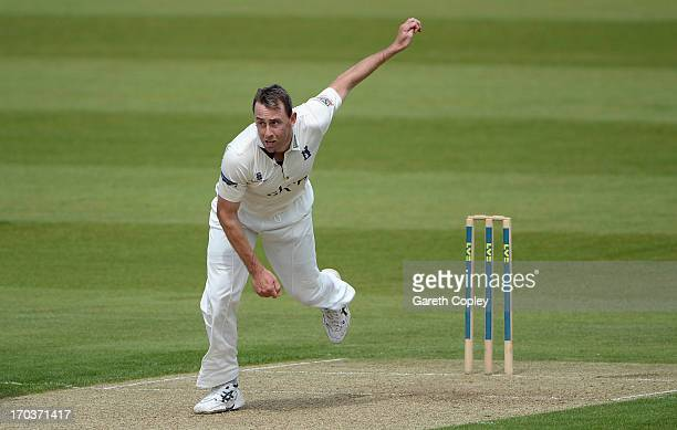 JUNE 12 JUNE 12 Rikki Clarke of Warwickshire bowls during day one of the LV County Championship Division One match between Durham and Warwickshire at...