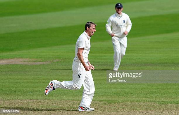 Rikki Clarke of Warwickshire celebrates after dismissing Tom Cooper of Somerset during the LV County Championship match between Somerset and...