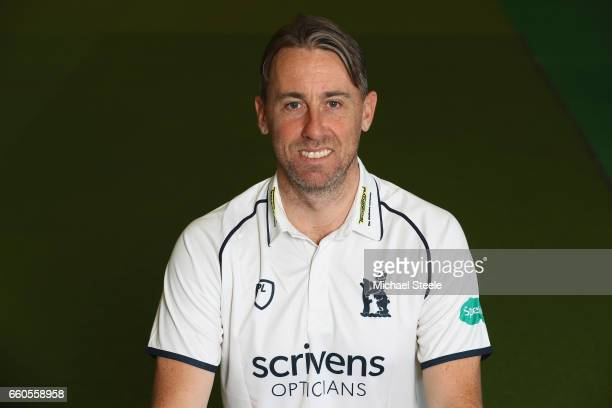 Rikki Clarke of Warwickshire in the Specsavers County Championship kit during the Warwickshire County Cricket photocall at Edgbaston on March 30 2017...