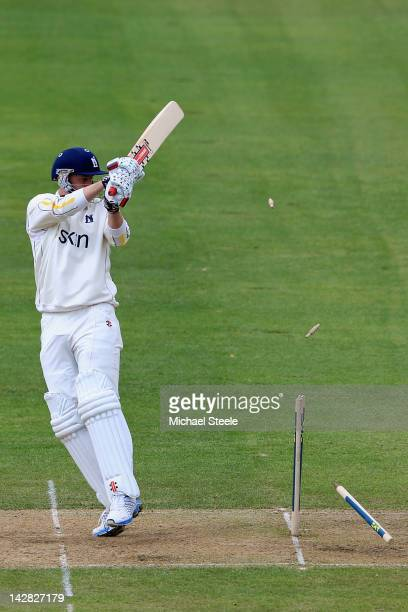 Rikki Clarke of Warwickshire is bowled by Peter Trego of Somerset during day two of the LV County Championship division one match between...
