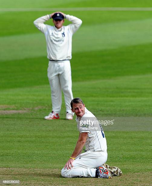 Rikki Clarke of Warwickshire shows dejection during the LV County Championship match between Somerset and Warwickshire at the County Ground on...