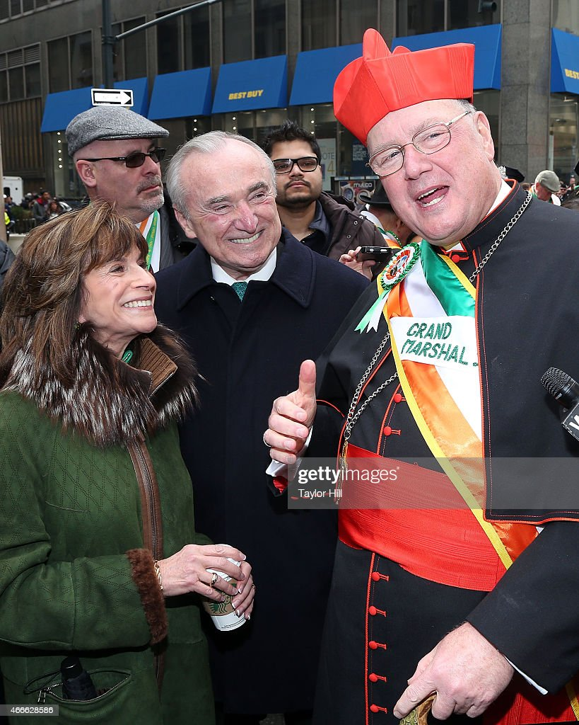 Rikki Klieman and New York City Police Commissioner Bill Bratton greet Timothy Cardinal Dolan Archbishop of New York at the 254th Annual St Patrick's...