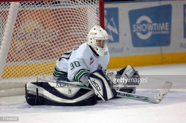 Riku Helenius of the Seattle Thunderbirds defends the net against the Kelowna Rockets on October 5 2007 at Prospera Place in Kelowna British Columbia...