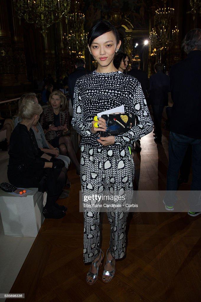 Rila Fukushima attends Stella McCartney show, as part of the Paris Fashion Week Womenswear Spring/Summer 2014, at the Opera Garnier in Paris.