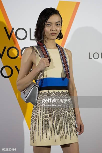 Rila Fukushima attends the Louis Vuitton Exhibition 'Volez Voguez Voyagez' on April 21 2016 in Tokyo Japan