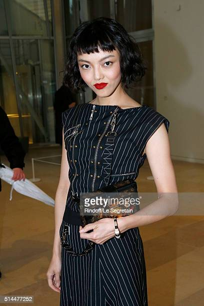 Rila Fukushima attends the Louis Vuitton show as part of the Paris Fashion Week Womenswear Fall/Winter 2016/2017 Held at Louis Vuitton Foundation on...