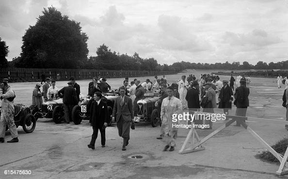 Riley 9 Aston Martin and Salmson at the LCC Relay GP Brooklands 25 July 1931 Left Riley 9 Brooklands 1089 cc Event Entry No 20 Centre Aston Martin...