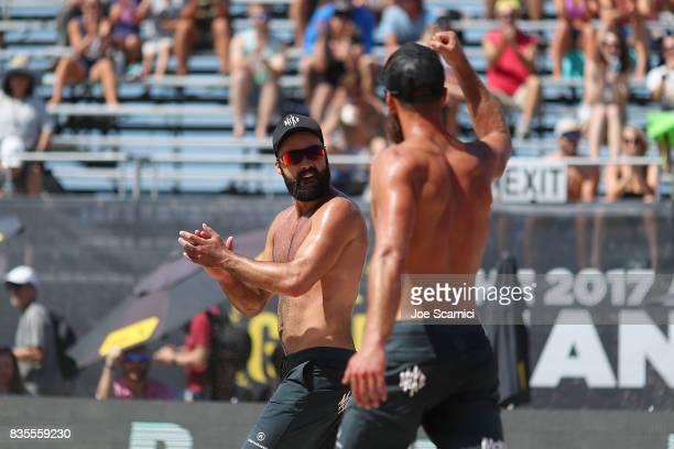 Riley and Maddison McKibbin celebrate match point during their round 4 match at the AVP Manhattan Beach Open Day 3 on August 19 2017 in Manhattan...