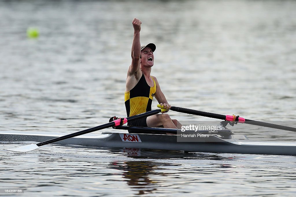 Riley Bruce of Mt Aspiring College celebrates winning the Boys Under 16 Single Sculls final during day six of the Maadi Cup at Lake Karapiro on March 23, 2013 in Cambridge, New Zealand.