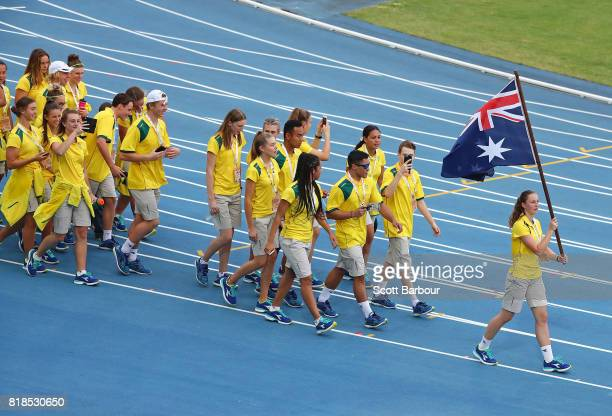 Riley Day flagbearer for Australia leads Australia during the 2017 Youth Commonwealth Games Opening Ceremony on day 1 of the 2017 Youth Commonwealth...
