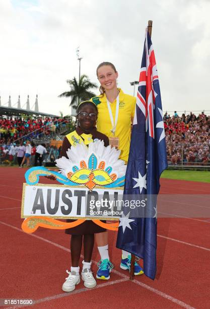 Riley Day flagbearer for Australia poses during the 2017 Youth Commonwealth Games Opening Ceremony on day 1 of the 2017 Youth Commonwealth Games at...
