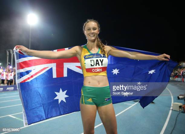 Riley Day of Australia celebrates after winning the Womens 150 Metre Race during the Melbourne Nitro Athletics Series at Lakeside Stadium on February...
