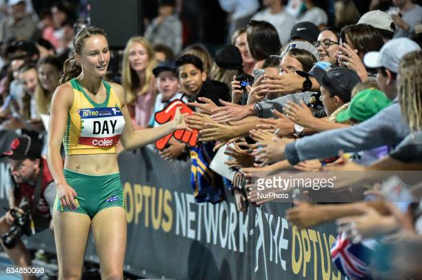 Riley Day of Australia celebrates winning the 150m sprint with the crowd at Nitro Athletics at Lakeside Stadium on February 11 2017 in Melbourne...