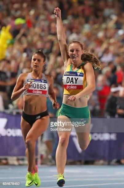 Riley Day of Australia celebrates winning the Womens 150 Metre Race during the Melbourne Nitro Athletics Series at Lakeside Stadium on February 11...